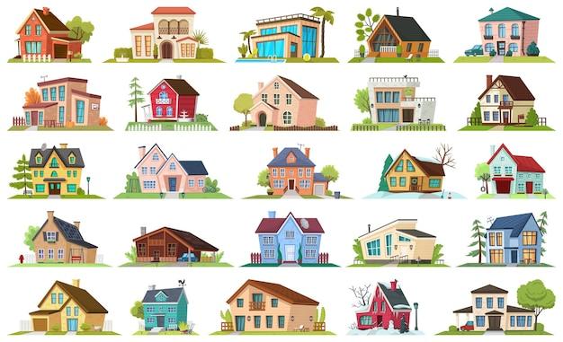 Conjunto de iconos de dibujos animados de apartamento de casa.
