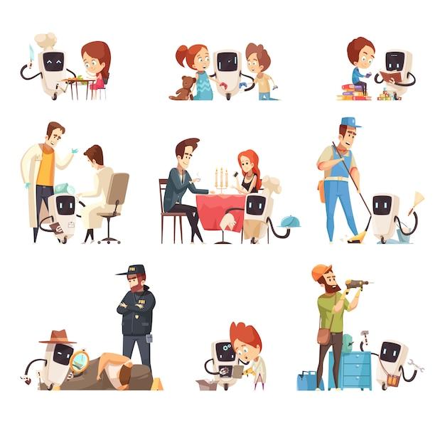 Conjunto de iconos de dibujos animados de asistentes de robots