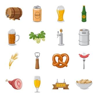 Conjunto de iconos de dibujos animados de bar, bar de cerveza.