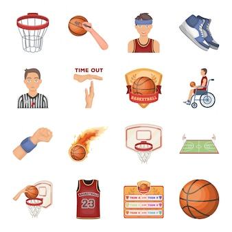 Conjunto de iconos de dibujos animados de béisbol. conjunto de dibujos animados de jugador de deporte aislado icono. beisbol