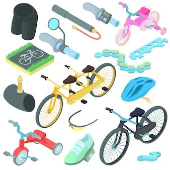 Conjunto de iconos de dibujos animados en bicicleta