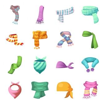 Conjunto de iconos de dibujos animados de bufanda