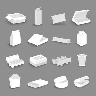 Conjunto de iconos de dibujos animados de cajas de embalaje de envío de entrega de cartón. abierto, cerrado, para alimentos, transporte, cartón de regalo suministra ilustración plana