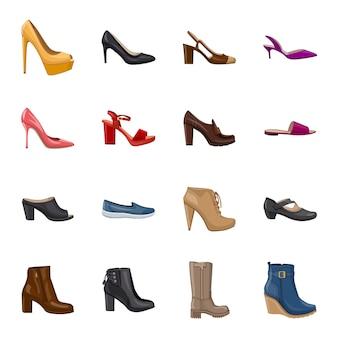 Conjunto de iconos de dibujos animados de calzado, zapatos de moda.