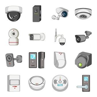 Conjunto de iconos de dibujos animados de cámara de video