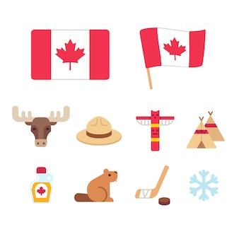 Conjunto de iconos de dibujos animados de canadá