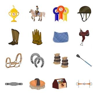 Conjunto de iconos de dibujos animados de carrera de caballos