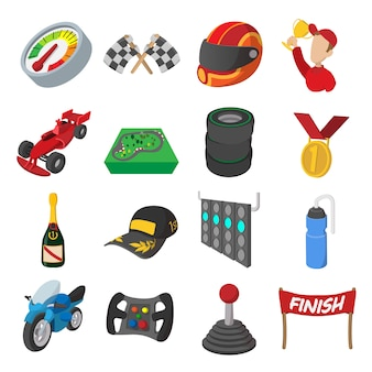 Conjunto de iconos de dibujos animados de carreras de coches. ilustraciones aisladas