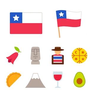 Conjunto de iconos de dibujos animados de chile