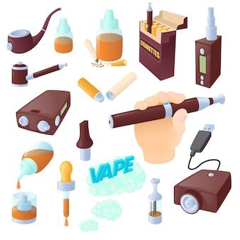 Conjunto de iconos de dibujos animados cigarrillos electrónicos