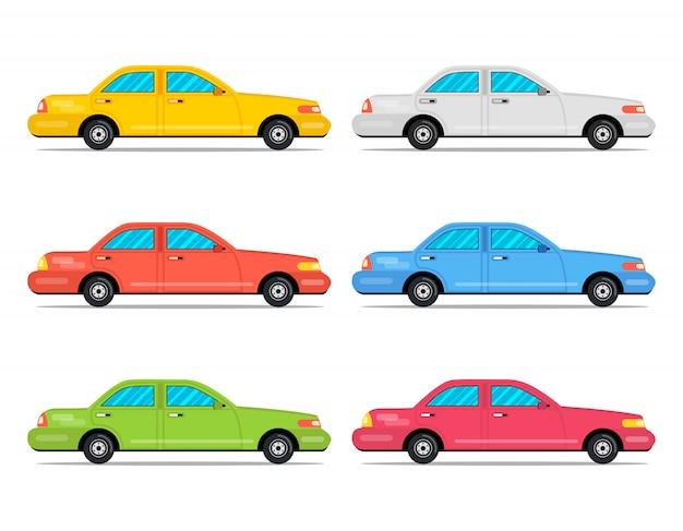 Conjunto de iconos de dibujos animados color coches