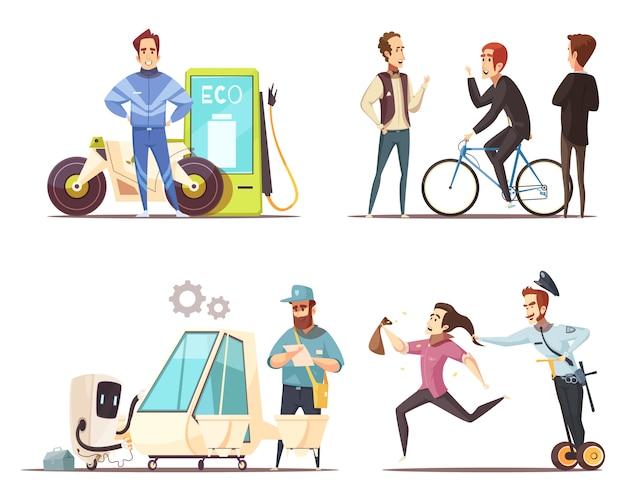 Conjunto de iconos de dibujos animados de concepto de transporte ecológico