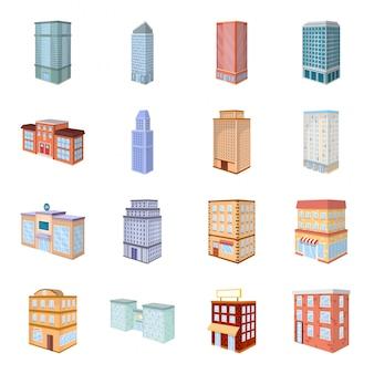 Conjunto de iconos de dibujos animados de construcción de la ciudad