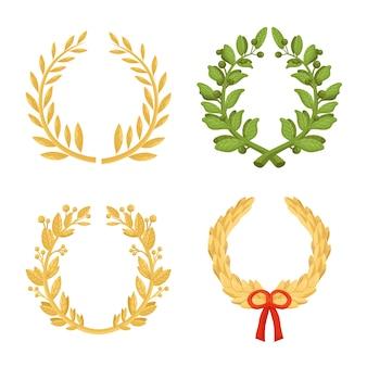 Conjunto de iconos de dibujos animados corona de laurel