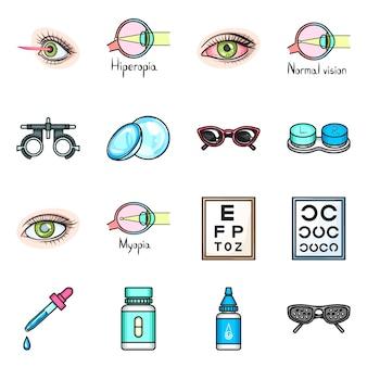 Conjunto de iconos de dibujos animados de corrección de visión.
