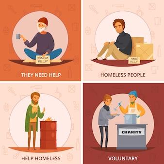 Conjunto de iconos de dibujos animados de cuatro plazas de personas sin hogar con ellos necesitan ayuda voluntaria y otras descripciones