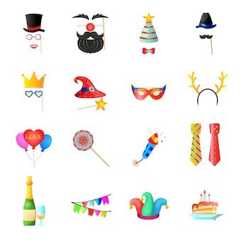 Conjunto de iconos de dibujos animados de cumpleaños, cumpleaños retro.