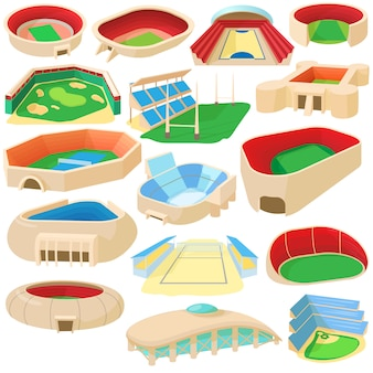 Conjunto de iconos de dibujos animados deporte estadio