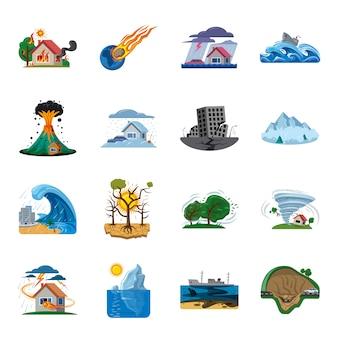 Conjunto de iconos de dibujos animados de desastres, desastres naturales.