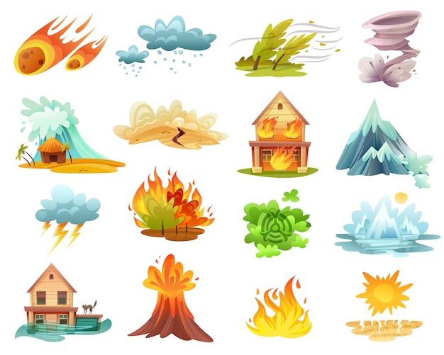 Conjunto de iconos de dibujos animados de desastres naturales