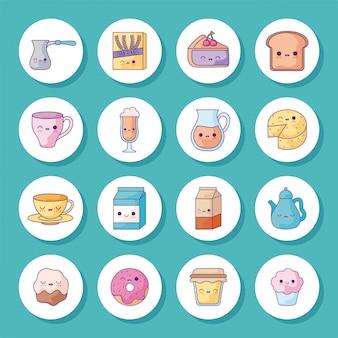 Conjunto de iconos de dibujos animados de desayuno y comida