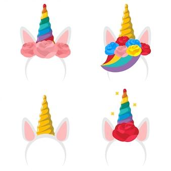 Conjunto de iconos de dibujos animados de diadema de unicornio.