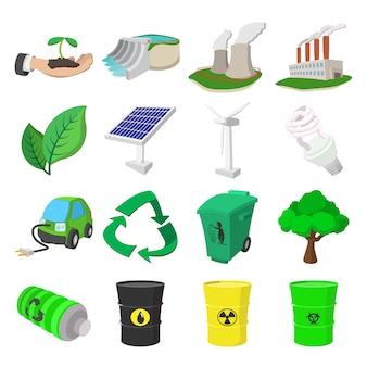 Conjunto de iconos de dibujos animados de ecología. simbolos de color