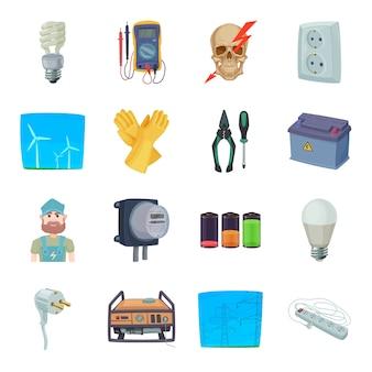 Conjunto de iconos de dibujos animados de electricidad.