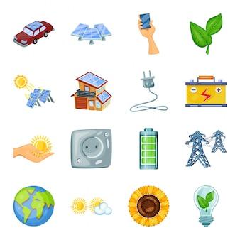 Conjunto de iconos de dibujos animados de energía ecológica