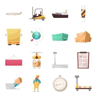 Conjunto de iconos de dibujos animados de entrega logística