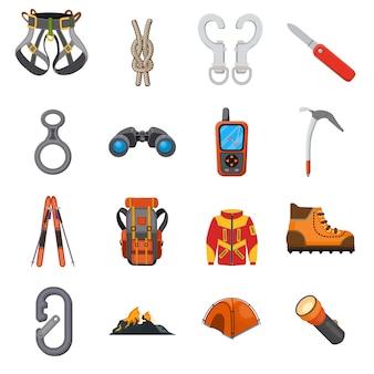Conjunto de iconos de dibujos animados de escalador.