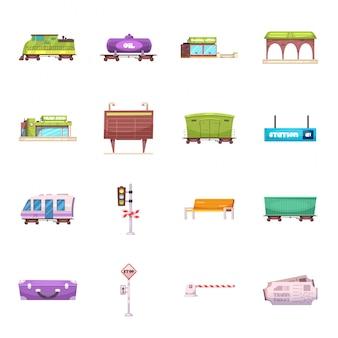 Conjunto de iconos de dibujos animados de estación