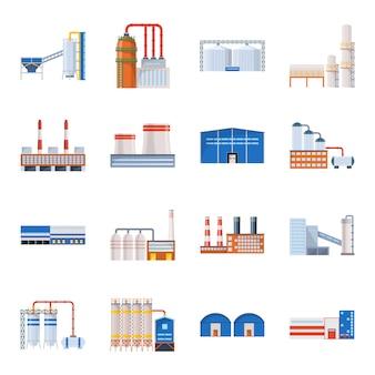 Conjunto de iconos de dibujos animados de fábrica. ilustración de la fábrica de la industria.