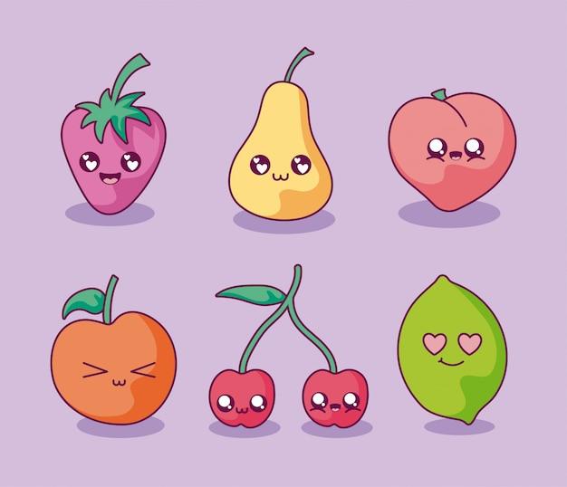 Conjunto de iconos de dibujos animados de frutas kawaii