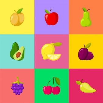 Conjunto de iconos de dibujos animados de frutas. manzana ciruela limón cereza pera aguacate
