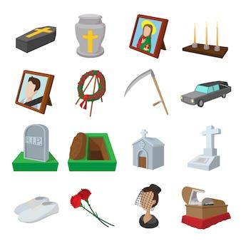 Conjunto de iconos de dibujos animados de funeral y entierro aislados
