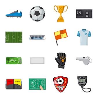 Conjunto de iconos de dibujos animados de fútbol, deporte de fútbol.