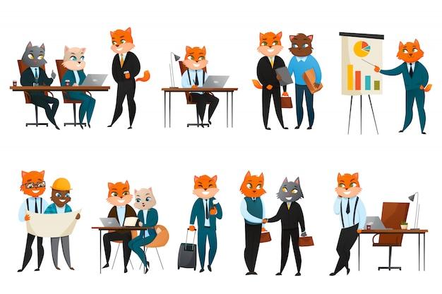 Conjunto de iconos de dibujos animados de gato de negocios