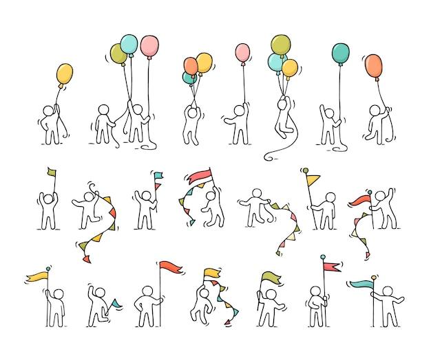 Conjunto de iconos de dibujos animados de gente pequeña de bosquejo con símbolos de fiesta.