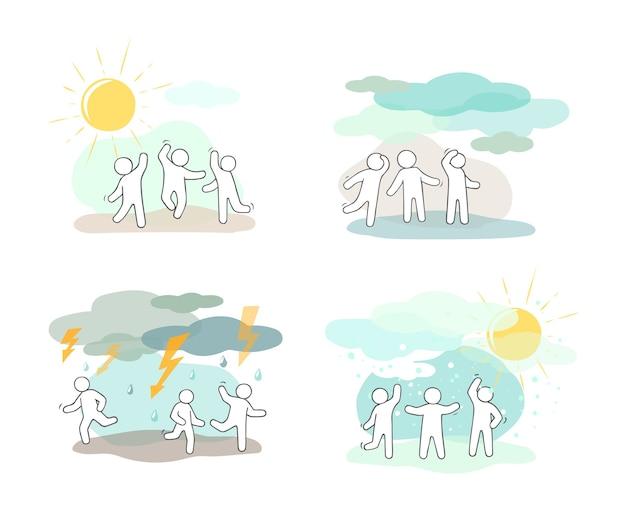 Conjunto de iconos de dibujos animados de gente pequeña de bosquejo con símbolos meteorológicos.