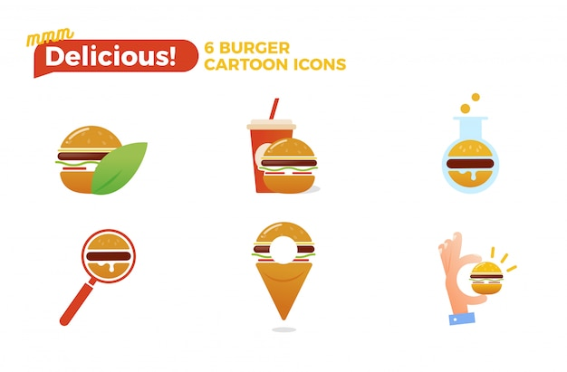 Conjunto de iconos de dibujos animados de hamburguesa