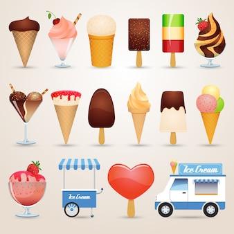 Conjunto de iconos de dibujos animados de helado