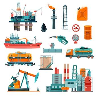 Conjunto de iconos de dibujos animados de la industria del petróleo
