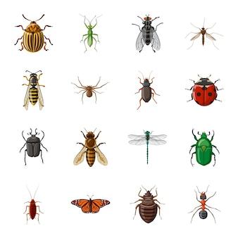 Conjunto de iconos de dibujos animados de insectos, insecto insecto.