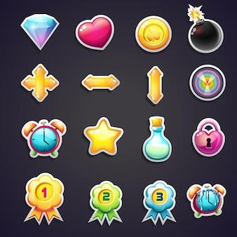 Conjunto de iconos de dibujos animados para la interfaz de usuario de juegos de computadora