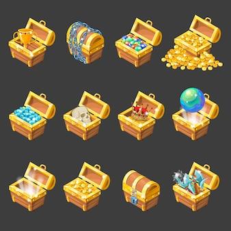 Conjunto de iconos de dibujos animados isométricos de cofres del tesoro