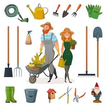 Conjunto de iconos de dibujos animados de jardinería