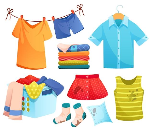 Conjunto de iconos de dibujos animados de lavandería ropa limpia y sucia