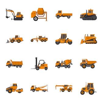 Conjunto de iconos de dibujos animados de maquinaria, maquinaria de construcción.