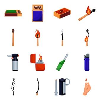 Conjunto de iconos de dibujos animados de matchbox y fósforo. ilustración aislada e-cig, encendedor, caja y fósforo. conjunto de iconos de equipos de cerillas para fumar.